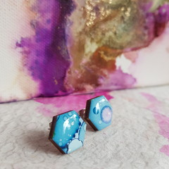 The Blue Confetti Collection - resin stud earrings