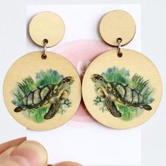 Wood Earrings • Sea Turtles • Surgical Steel • Eco Gift Ideas