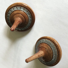Two Decorated 'Paperbark' Spinning Tops (Items Pb124 a & b)