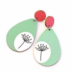 Wood Earrings • Dandelion Teardrops • Surgical Steel • Eco Gift Ideas