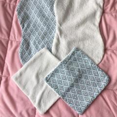 Green Diamond Burping Cloth and Face Washer Bundle