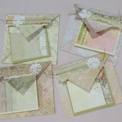 Pastel Greetings - handmade cards & envelopes (set of 4)