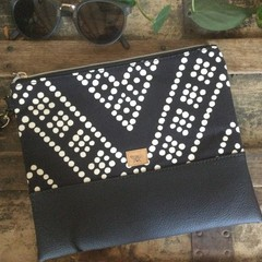 Flat Clutch - Black Spot/Black Faux Leather