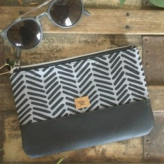 Small Flat Clutch - Black Dashes on Grey/Black Faux Leather