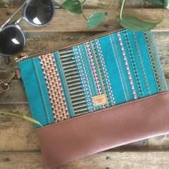 Flat Clutch - Aqua, Brown, Green, Pink Stripes/Brown Faux Leather