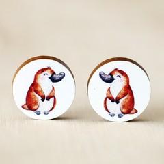 Wood Stud Earrings • Platypus • Surgical Steel • Eco Gift Ideas