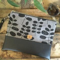 Flat Clutch - Black Leaves on Grey/Black Faux Leather