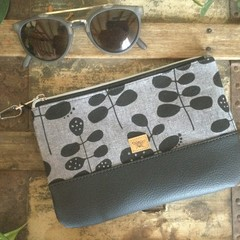 Small Flat Clutch - Black Leaves on Grey/Black Faux Leather