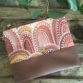 Flat Clutch - Aboriginal Sandhills/Brown Faux Leather