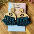 Golden peacock blue lotus macrame earrings