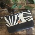 Small Flat Clutch - B & W Sunrise/Black Faux Leather