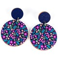 Wood Earrings • Navy Floral • Surgical Steel • Eco Gift Ideas