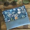 Flat Clutch - Aust.Flowers/Blue Faux Leather