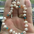 Freshwater Pearl, Citrine and Turquoise Bracelet, Knotted bracelet, Gemstone Bra