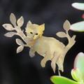 Kitten in a Tree Brass Garden Decoration