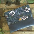 Flat Clutch - Blueberries/Navy Faux Leather