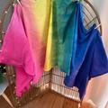 Rainbow handmade tie dyed fabric panels, curtains, wraps, sarongs