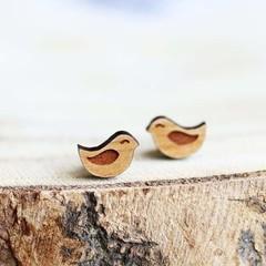 Wood Stud Earrings • Love Birds • Surgical Steel • Eco Gift Ideas