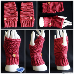 Fingerless gloves, wrist warmer in raspberry with wooden button - FREE SHIPPING