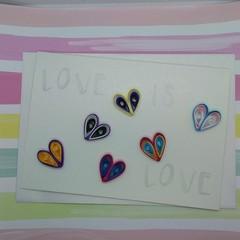 Love is Love Card Rainbow Flag Hearts