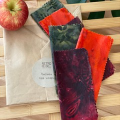 Waxed fabric food wraps - batik prints