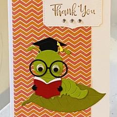Thank You Teacher Handmade Card - Bookworm