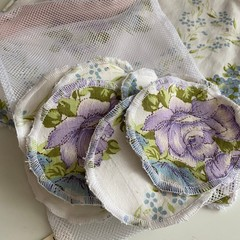 Eco friendly vintage soft flannel and toweling re-usable make up wipes, matching