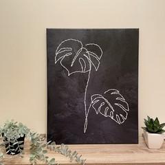 Monstera Line Art On Canvas