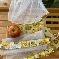 Waxed fabric food wraps and drawstring produce bags