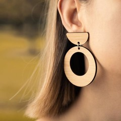 Wood Earrings • Large Hoops • Surgical Steel • Eco Gift Ideas