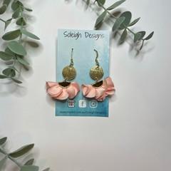 Pink Flower Gold Charm Earrings