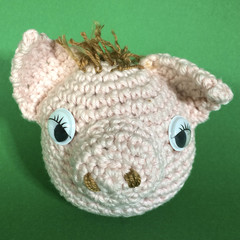 Pale Pink Pig Ball Toy with Brown Hair, Pink Tail and Eyelashes - No.3