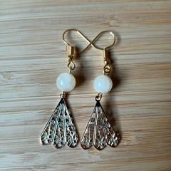 Peacock Fan Dangle Earrings (Assorted Gemstone Available)