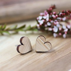 Wood Stud Earrings • Bamboo Hearts • Surgical Steel • Eco Gift Ideas