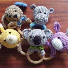 Handmade Crochet Teething Ring,Teether,Kids Teeth Toy,Amigurumi,CrochetAnimalToy