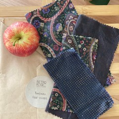 Waxed fabric food wraps paisley patterned