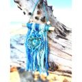 Yarn Flower Mini Wall Hanging Decoration Boho Summer Blue Coastal