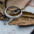 Handmade Sterling Silver Ring - Scroll Pattern Finish