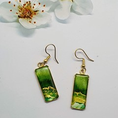 Rectangular Gold Earrings in green and Gold Tonings