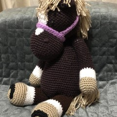 Crochet bay horse cuddly toy
