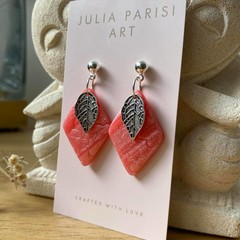 Diamond Shaped Peach SHIMMER Handmade Drop Earrings