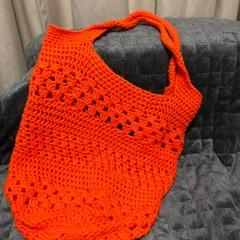 Orange crochet shopping bag