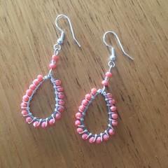 Coral teardop beaded earrings