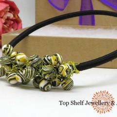 Yellow Lace Malachite Crochet Wire Beaded Necklace