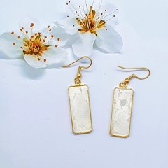 Rectangular Gold Earrings in White and Silver Tonings