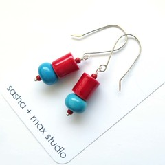 Vintage Red and blue glass beaded drop earrings