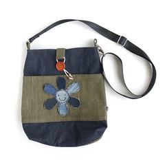 Handmade Denim Crossbody/Shoulder Bag with Upcycled Denim Flower