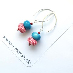 Swirl blue glass beaded polymer clay  beaded drop earrings