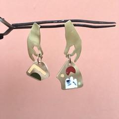 Asymmetrical Brass & Resin Hand earrings