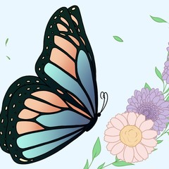 Colouring Page for Children or Adults - Butterfly - Flowers - Instant download